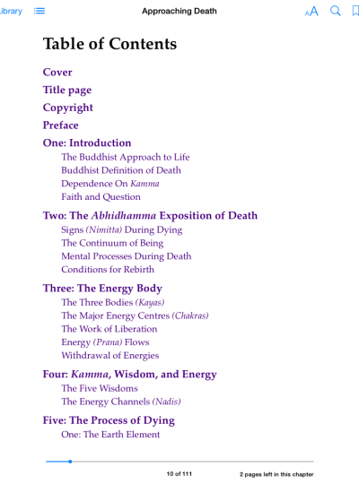 Approaching Death | Contents page
