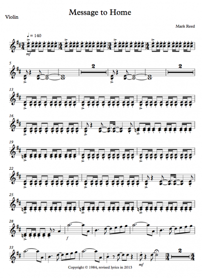 Message To Home violin first page